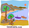 boats anchored off coast Vector Clip Art image