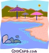 umbrellas at waterline on beach Vector Clip Art graphic