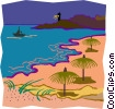 grass umbrellas, lighthouse in background Vector Clip Art graphic