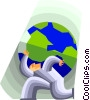 Vector Clip Art graphic  of a holding up the world