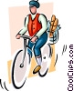 Vector Clip Art graphic  of a person on bike with groceries