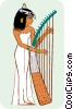 Vector Clip Art picture  of a Egyptian woman playing harp