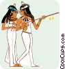 two Egyptian women, one with guitar Vector Clip Art graphic