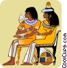 Vector Clipart image  of a two seated Egyptian women