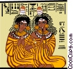 Vector Clip Art image  of a two Egyptian women seated on