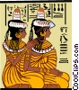 two Egyptian women, braiding hair Vector Clipart illustration