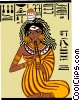 Vector Clip Art graphic  of a Egyptian woman playing