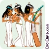 Vector Clipart graphic  of a Egyptian women playing