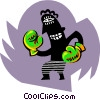Vector Clipart image  of a business boxing match