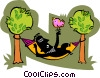 Vector Clip Art image  of a person relaxing in hammock with bird
