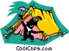 Vector Clipart graphic  of a person setting up tent