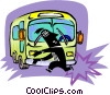 person avoiding being struck by bus Vector Clipart graphic