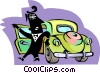 Vector Clip Art graphic  of a person exiting car