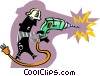 Vector Clipart image  of a construction worker using