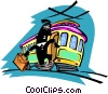business person exiting streetcar Vector Clip Art graphic