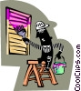 man painting vent Vector Clipart picture
