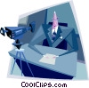 Business man in video conference Vector Clipart illustration