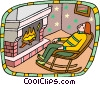 Sleeping in rocking chair in front of fireplace Vector Clipart illustration