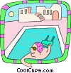 Vector Clipart graphic  of a swimming in pool