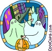 Vector Clipart image  of a ghosts trick-or-treating