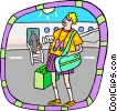 Vector Clipart illustration  of a tourist at airport