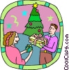 gift exchanging at Christmas Vector Clip Art image