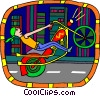 man on chopper motorcycle Vector Clipart graphic