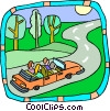 Vector Clip Art image  of a Family trip in car