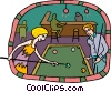 Vector Clip Art image  of a Couple playing pool