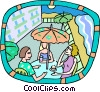 Vector Clip Art graphic  of a outdoor cafe