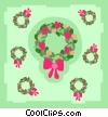 Vector Clip Art image  of a Christmas wreaths