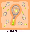 Vector Clip Art picture  of a Tennis rackets with balls
