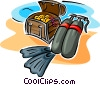 scuba equipment and treasure chest Vector Clip Art image