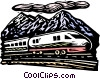 Vector Clip Art image  of a Train passing by mountain