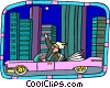 Vector Clip Art image  of a big shot cruising through city
