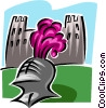Vector Clipart graphic  of a knight helmet in front of