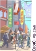 Chinese market area Vector Clipart picture