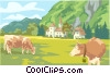 cows in field Vector Clipart picture
