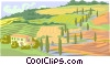 Vector Clip Art picture  of a house in the country