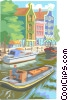 boat motoring into town Vector Clipart picture