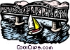 woodcut sailboats Vector Clipart picture