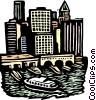 woodcut European cityscape Vector Clipart image