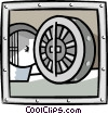 business bank vault Vector Clip Art image