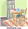 Vector Clipart illustration  of a dining room