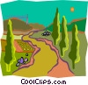 path through landscape Vector Clipart illustration