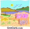boat with fishing nets on shore Vector Clipart picture