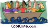 Vector Clip Art graphic  of a business people in boat