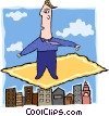 business man on flying carpet Vector Clip Art image