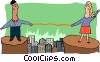 Vector Clipart picture  of a business bridging the gap