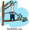 business out on a limb Vector Clipart illustration